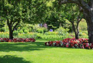 well groomed lawn & flower garden